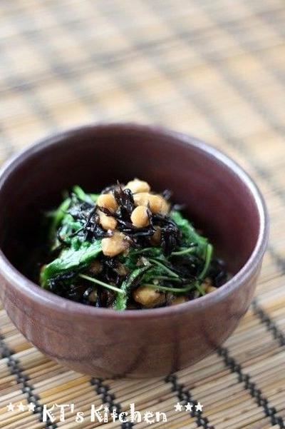納豆と三つ葉、ひじきの梅わさび和え