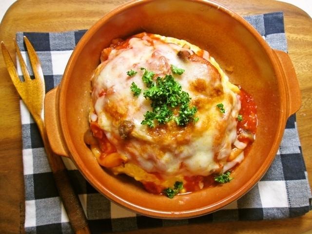 濃厚トマトソースのオムライスグラタン