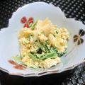 色合いもかわいらしい☆ 筍と水菜のカレー風味白和え