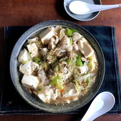 【簡単!フライパンで10分おかず】おすすめです!!長ネギと豚バラの塩麻婆豆腐