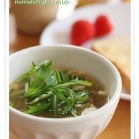 ヘルシー朝ごはんに みず菜と舞茸のスープ♪