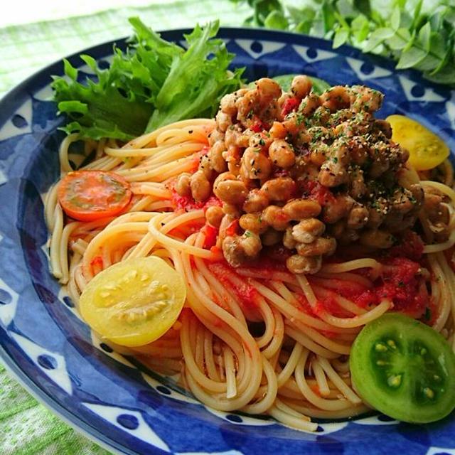 トマトのこぶおろしと納豆の冷製パスタ