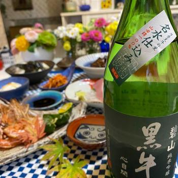 和歌山の銘酒 黒牛と晩ごはん❤️