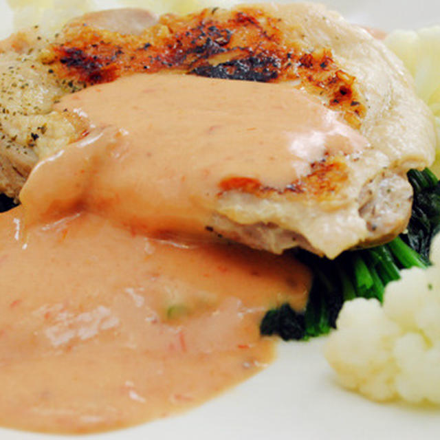 蒸し鶏 オーロラソース