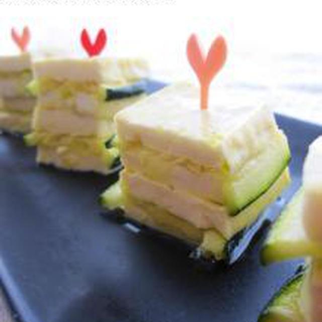 豆腐&ズッキーニのオイル漬けで、ミルフィーユ風♪