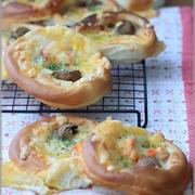 【レシピ】海老とマッシュルームのグラタンパン。 と 初上陸。