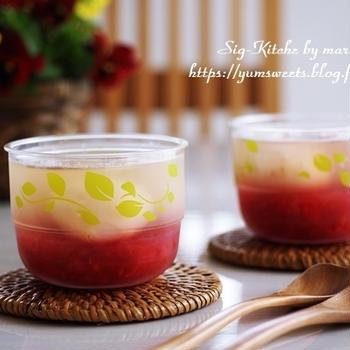 イチゴとライチのゼリーの試作品【いちおうレシピ】