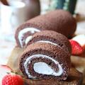 ふわふわのココアロールケーキ と チョコレートプリン。