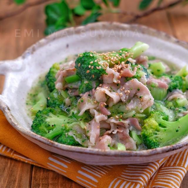 レンジで簡単!*ブロッコリーと豚バラのとろみ煮*