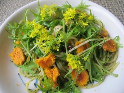 春色の食卓 ♪水菜の花とカラスミのパスタ&海老とアボカド、カラカラオレンジのサラダ♪