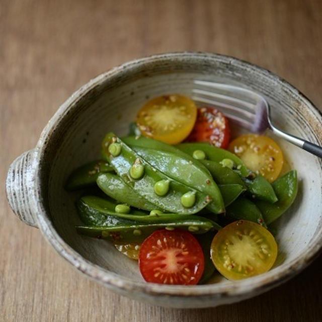 スナップえんどうとミニトマトのサラダ