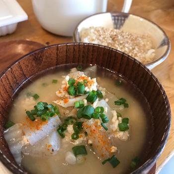 鶏ひき肉のお味噌汁