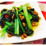 小松菜と納豆のピリ辛甘和え