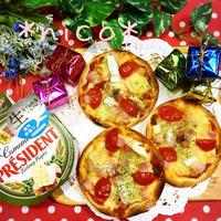 またまたクリスマスに♪餃子の皮ピザ~♡