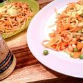 トマト・グリーンピース・にんじん・豆の簡単パスタ