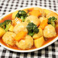 ノンオイルで作る♪彩り野菜とミートボールの甘酢あんかけ