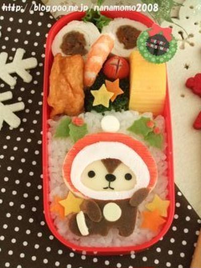 サンタ帽子?を被ったきれいずきんちゃんのお弁当 ♪ (キャラ弁)