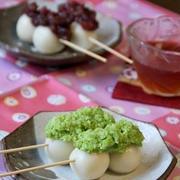 豆腐入り白玉の串だんご。ずんだと小豆あん。