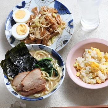 「お水がいらない 横浜家系ラーメン」「メンマとねぎのラー油和え」「チャーハン」