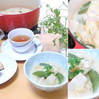 小カブとスナップエンドウの豆乳スープ