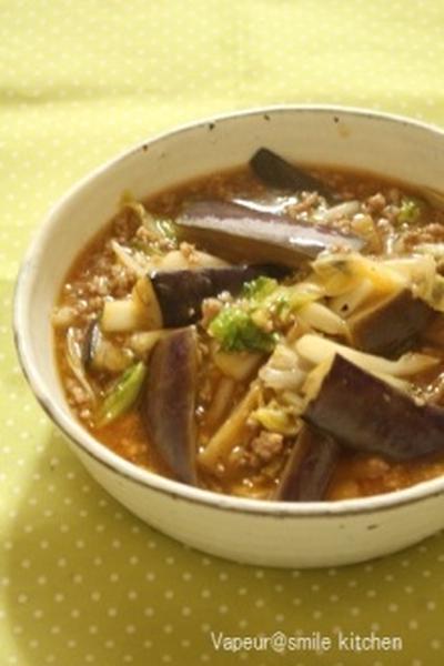 なすと白菜の麻婆風&今日のお弁当~鮭とみょうがの混ぜご飯