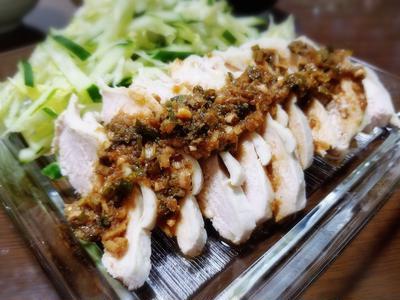 【家ごはん/献立】 焼きとうもろこしご飯 と 棒棒鶏 [レシピ] 焼きモロコシご飯 / 香味タレ