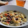 OZ簡単ベジスプレッドからのゴロゴロ豆のスープパスタ
