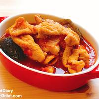 【レシピ】豚モツとナスのトマト煮込み