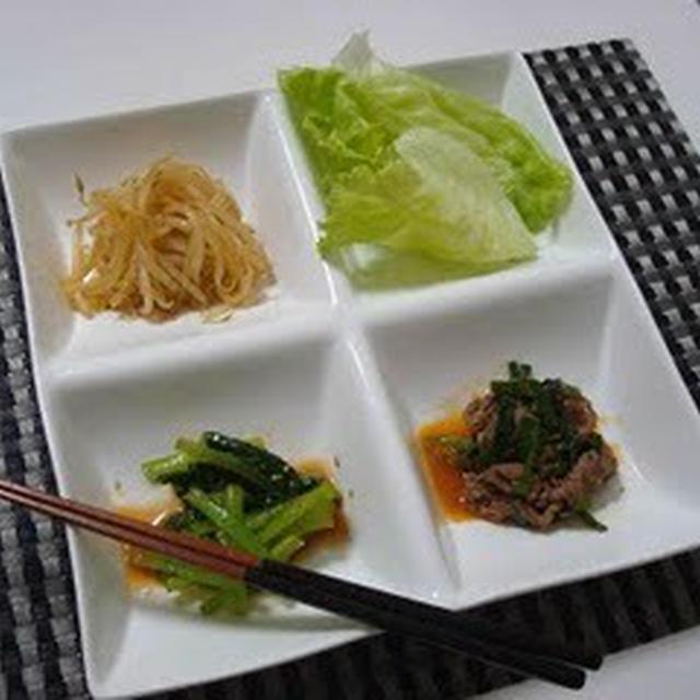焼き肉と2種のナムル(Beef Stir-Fry with Japanese BBQ Sauce, and Two Kinds of Namul)