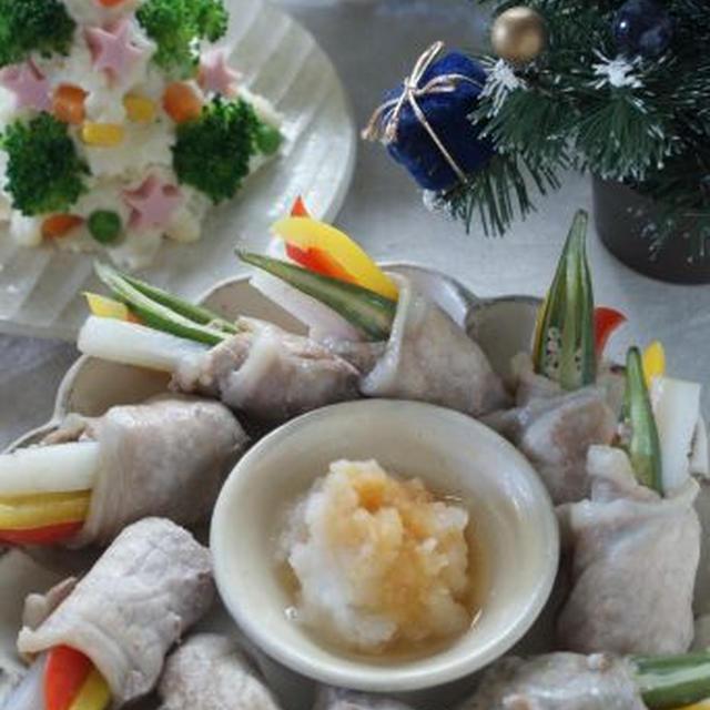 野菜巻き蒸し豚しゃぶリースで和風クリスマス