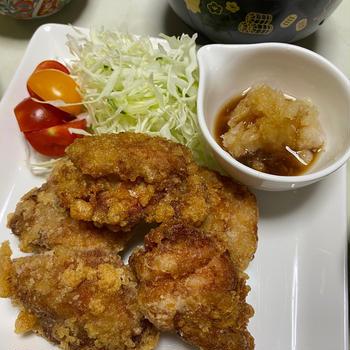 鶏の唐揚げ、おろしポン酢かけ