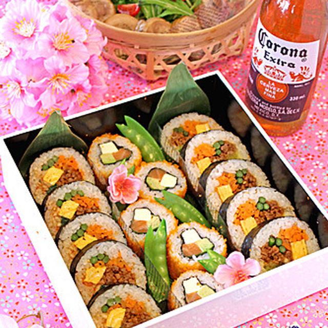 お花見キンパ&カリフォルニアロール弁当☆鶏チャ~シュ~