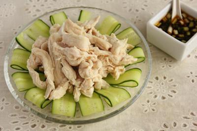 簡単3分!包丁いらず!鶏むね肉で冷しゃぶ&甘辛にんにくダレ