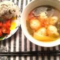 鶏ミートボールと野菜の塩麹中華風スープ