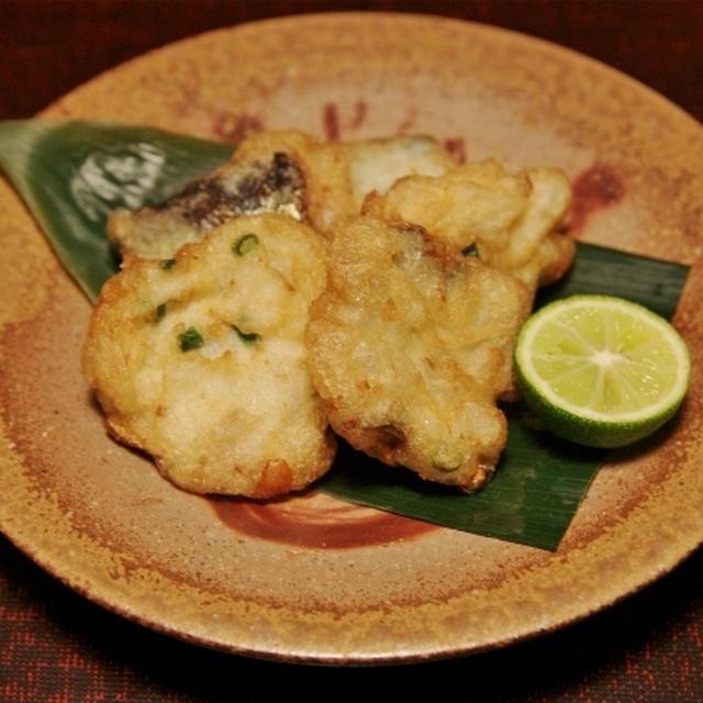 秋刀魚の竜田揚げ と ヤリイカと三つ葉の胡麻酢和え