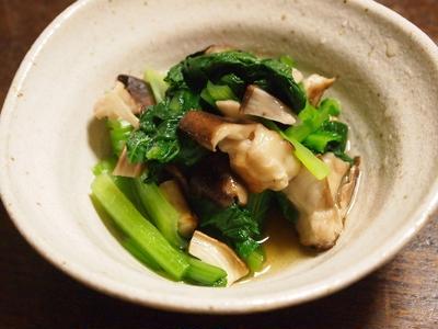 小松菜と焼き椎茸のおひたし