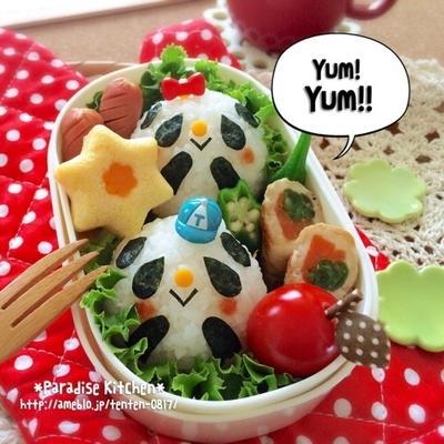 レシピ有☆キャラ弁*簡単♪パンダちゃんおにぎり弁当