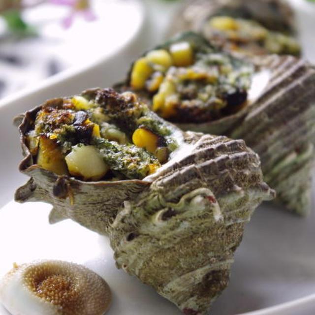 サザエのガーリックバター焼き