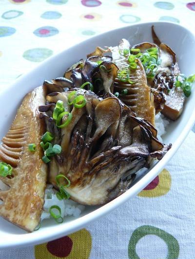 竹の子と舞茸のかば焼丼