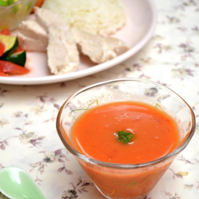 えび風味冷製トマトスープ。の晩ご飯。~生トマトのタレ・ソース・ドレッシングレシピ~