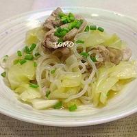 ほっこりおかず♪麺つゆで簡単!豚肉と白滝のキャベツ煮 と 「キュキュット オーロラポンプ」レポート
