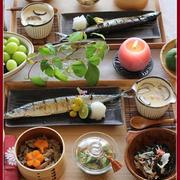 秋刀魚の塩焼き!と、きのこごはん!秋和食は美味♪