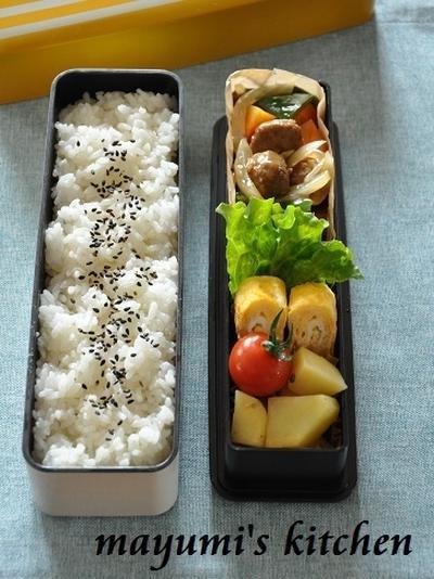 野菜でかさまし肉だんご節約弁当《簡単*節約》