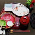 初夏の会席料理のコーディネート【赤】