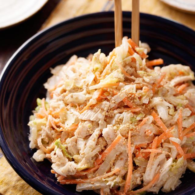 白菜と蒸し鶏のおかずサラダ【#作り置き #簡単 #時短 #節約 #やみつき #マヨ代用あり #サラダ #副菜】