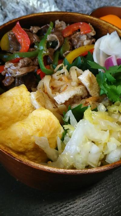 牛ピー焼肉のタレ炒め弁当
