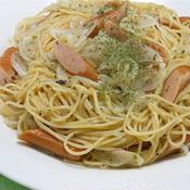 新タマネギとソーセージのマリネ風スパゲティ