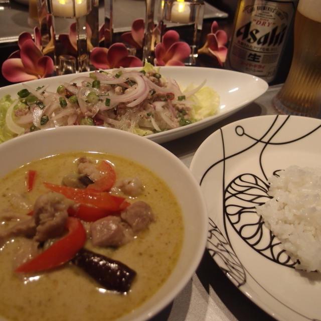 アサヒ・スーパードライをグリーンカレーで楽しむ夕飯