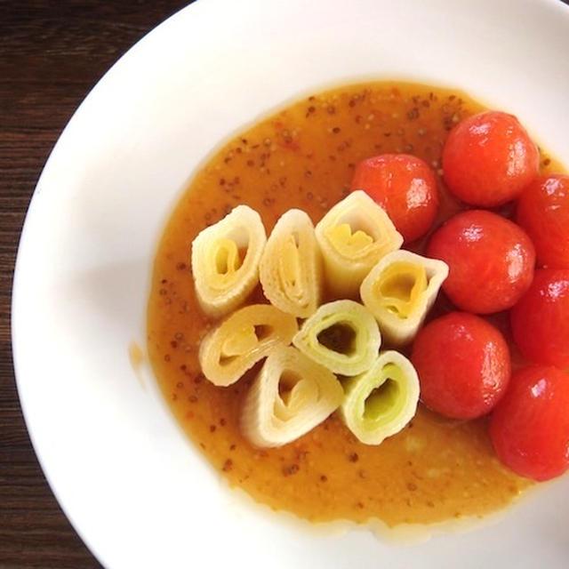 ねぎとミニトマトのポン酢マスタードマリネ