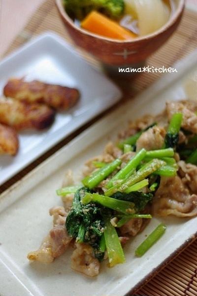 豚肉と小松菜の胡麻味噌炒めのお夕飯と、hiro*cafe便♪